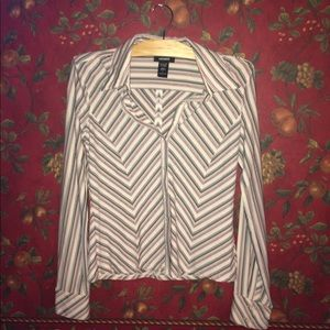 EXPRESS Striped Blouse with Cuffed Sleeves